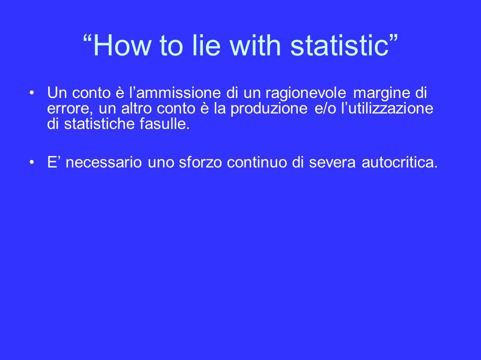 How to lie with statistic Un conto è lammissione di un ragionevole margine di errore, un altro conto è la produzione e/o lutilizzazione di statistiche fasulle.