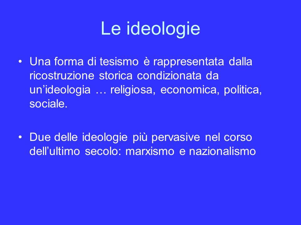 Le ideologie Una forma di tesismo è rappresentata dalla ricostruzione storica condizionata da unideologia … religiosa, economica, politica, sociale.