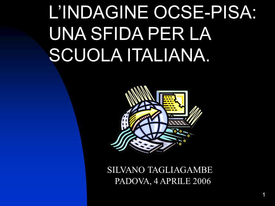 12 Risultati nella scala delle scienze PISA 2003 ITALIA Nord Ovest533 Nord Est533 Centro497 Sud444 Sud Isole440 Media OECD500