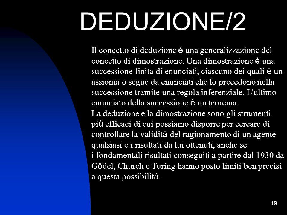 19 DEDUZIONE/2 Il concetto di deduzione è una generalizzazione del concetto di dimostrazione. Una dimostrazione è una successione finita di enunciati,