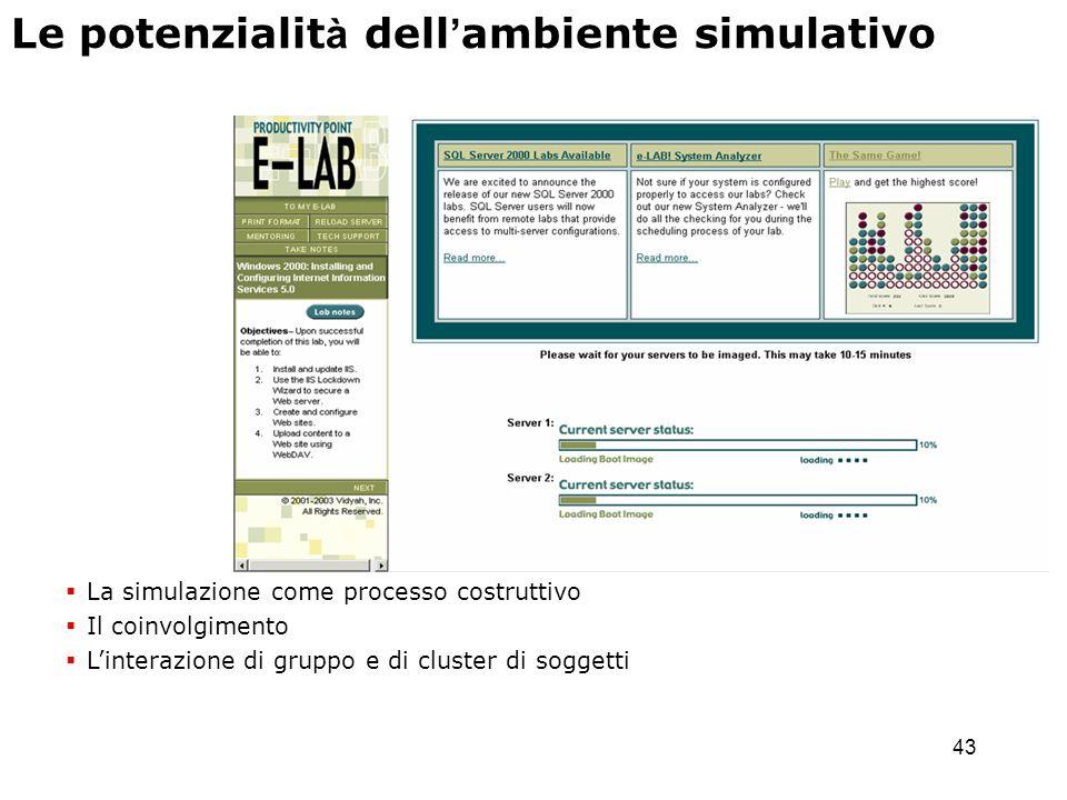 43 La simulazione come processo costruttivo Il coinvolgimento Linterazione di gruppo e di cluster di soggetti Le potenzialit à dell ambiente simulativ