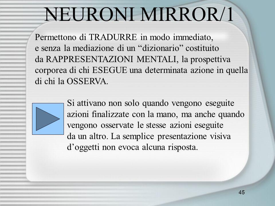 45 NEURONI MIRROR/1 Permettono di TRADURRE in modo immediato, e senza la mediazione di un dizionario costituito da RAPPRESENTAZIONI MENTALI, la prospe