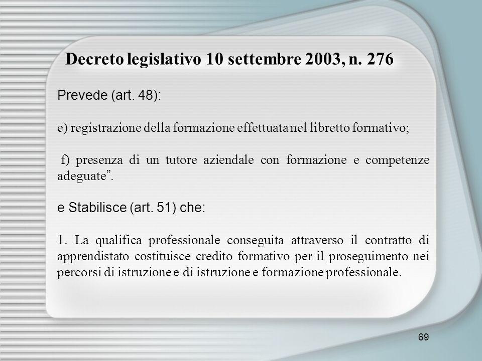 69 Decreto legislativo 10 settembre 2003, n. 276 Prevede (art. 48): e) registrazione della formazione effettuata nel libretto formativo; f) presenza d
