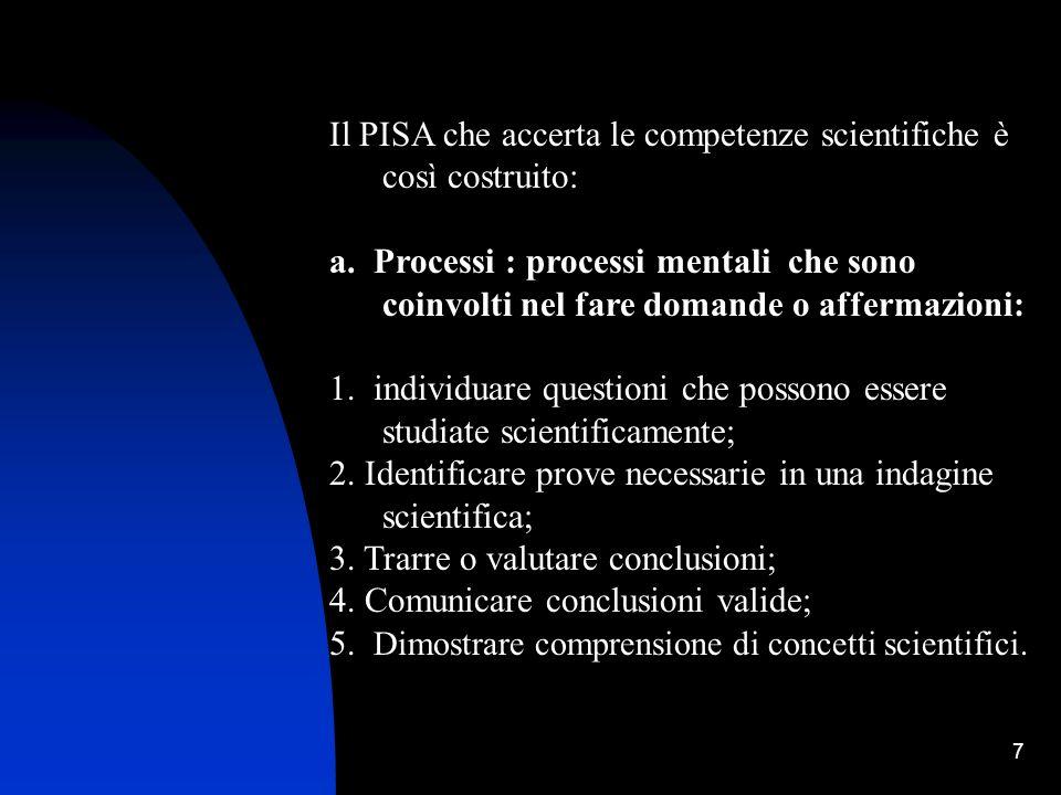 7 Il PISA che accerta le competenze scientifiche è così costruito: a. Processi : processi mentali che sono coinvolti nel fare domande o affermazioni: