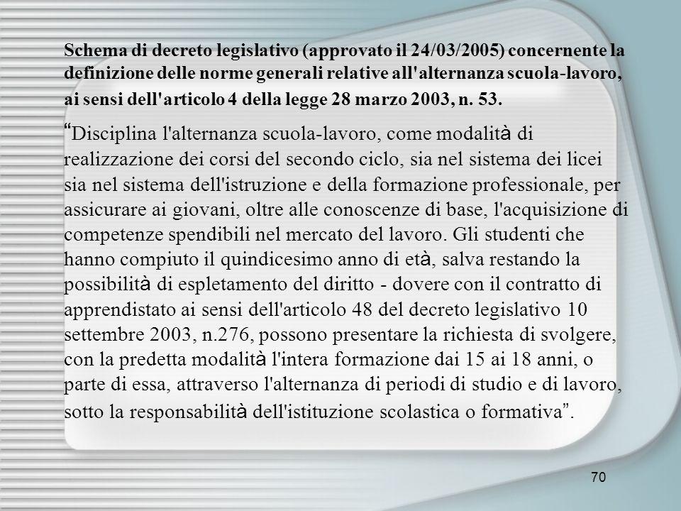 70 Schema di decreto legislativo (approvato il 24/03/2005) concernente la definizione delle norme generali relative all'alternanza scuola-lavoro, ai s