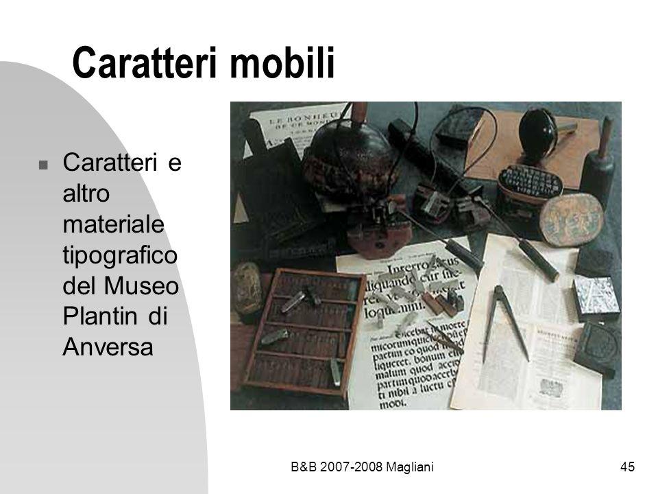 B&B 2007-2008 Magliani45 Caratteri mobili Caratteri e altro materiale tipografico del Museo Plantin di Anversa