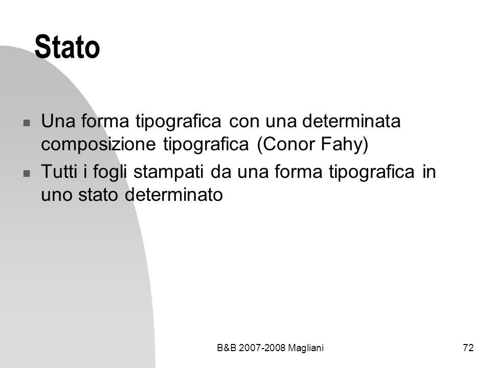 B&B 2007-2008 Magliani72 Stato Una forma tipografica con una determinata composizione tipografica (Conor Fahy) Tutti i fogli stampati da una forma tipografica in uno stato determinato