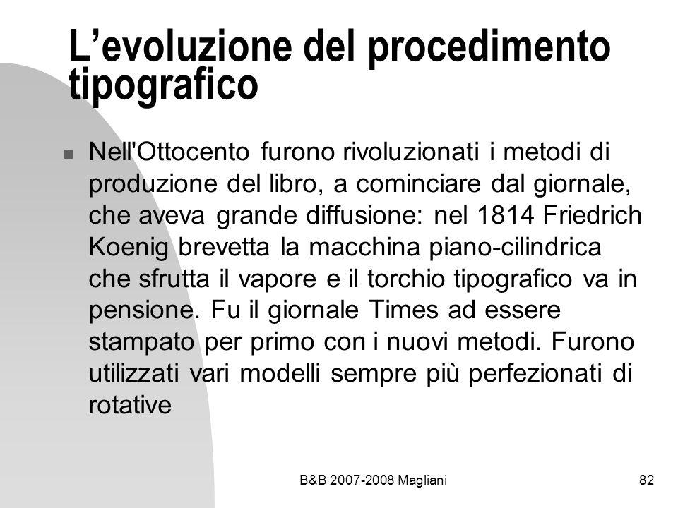 B&B 2007-2008 Magliani82 Levoluzione del procedimento tipografico Nell Ottocento furono rivoluzionati i metodi di produzione del libro, a cominciare dal giornale, che aveva grande diffusione: nel 1814 Friedrich Koenig brevetta la macchina piano-cilindrica che sfrutta il vapore e il torchio tipografico va in pensione.