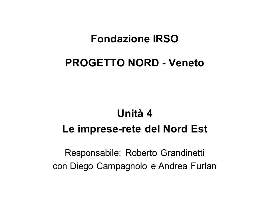 Fondazione IRSO PROGETTO NORD - Veneto Unità 4 Le imprese-rete del Nord Est Responsabile: Roberto Grandinetti con Diego Campagnolo e Andrea Furlan