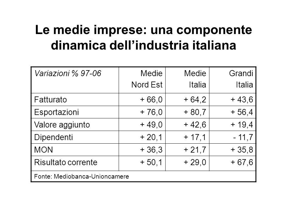 Le medie imprese: una componente dinamica dellindustria italiana Variazioni % 97-06Medie Nord Est Medie Italia Grandi Italia Fatturato+ 66,0+ 64,2+ 43,6 Esportazioni+ 76,0+ 80,7+ 56,4 Valore aggiunto+ 49,0+ 42,6+ 19,4 Dipendenti+ 20,1+ 17,1- 11,7 MON+ 36,3+ 21,7+ 35,8 Risultato corrente+ 50,1+ 29,0+ 67,6 Fonte: Mediobanca-Unioncamere