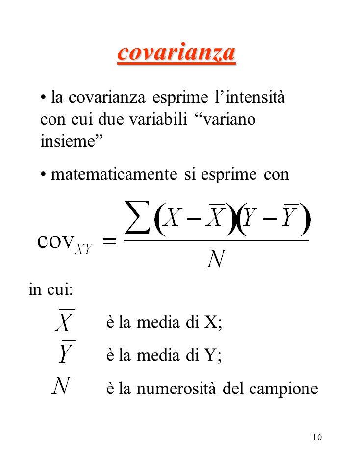 10 la covarianza esprime lintensità con cui due variabili variano insieme matematicamente si esprime con covarianza in cui: è la media di X; è la medi