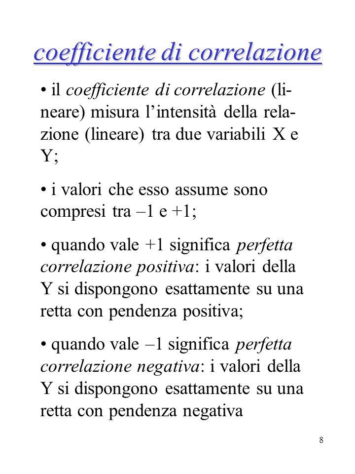 8 il coefficiente di correlazione (li- neare) misura lintensità della rela- zione (lineare) tra due variabili X e Y; i valori che esso assume sono com