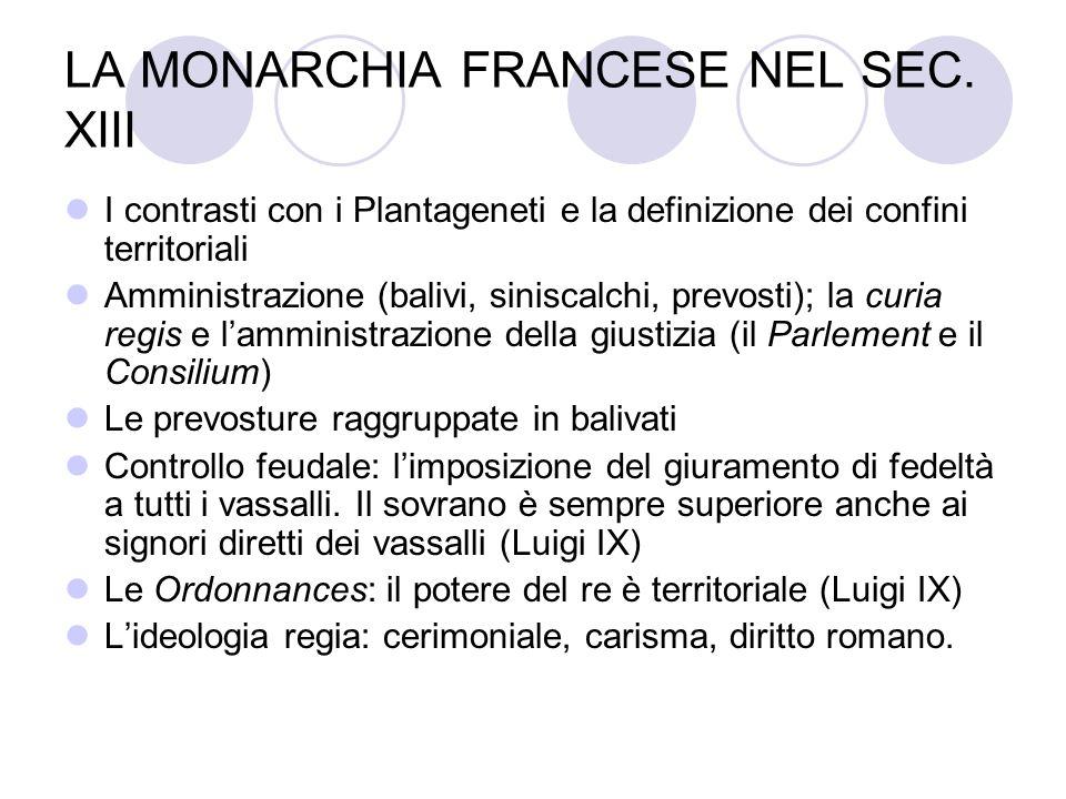 LA MONARCHIA FRANCESE NEL SEC. XIII I contrasti con i Plantageneti e la definizione dei confini territoriali Amministrazione (balivi, siniscalchi, pre