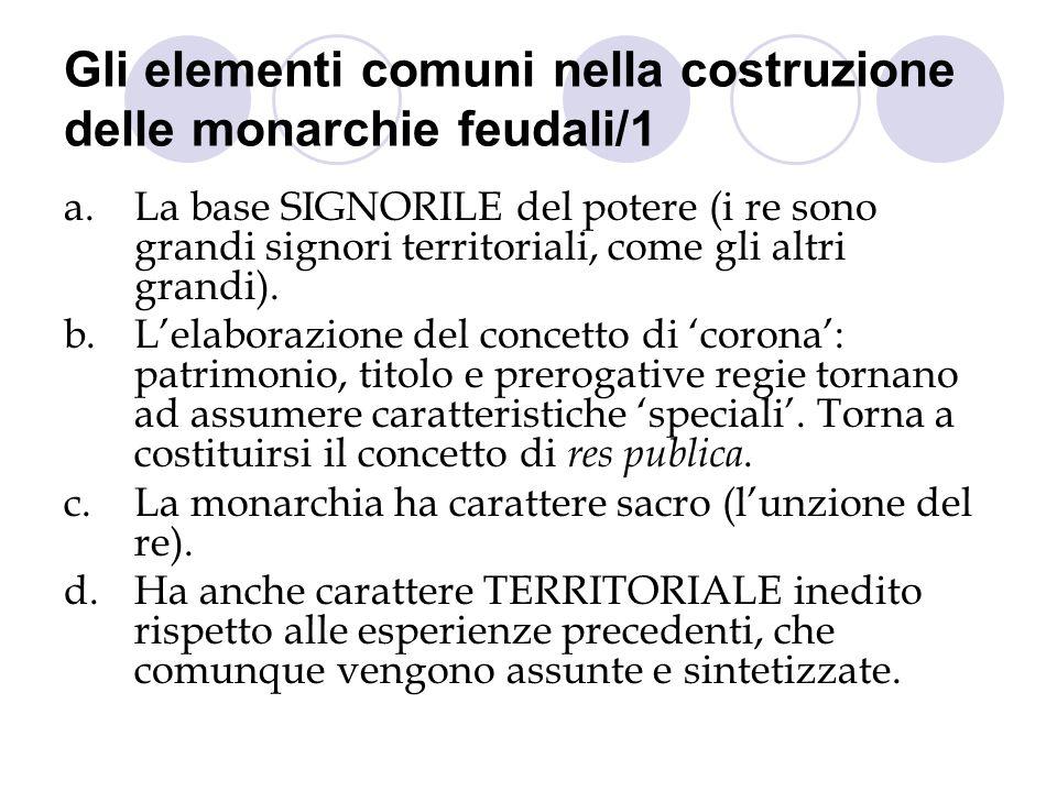 Gli elementi comuni nella costruzione delle monarchie feudali/1 a.La base SIGNORILE del potere (i re sono grandi signori territoriali, come gli altri