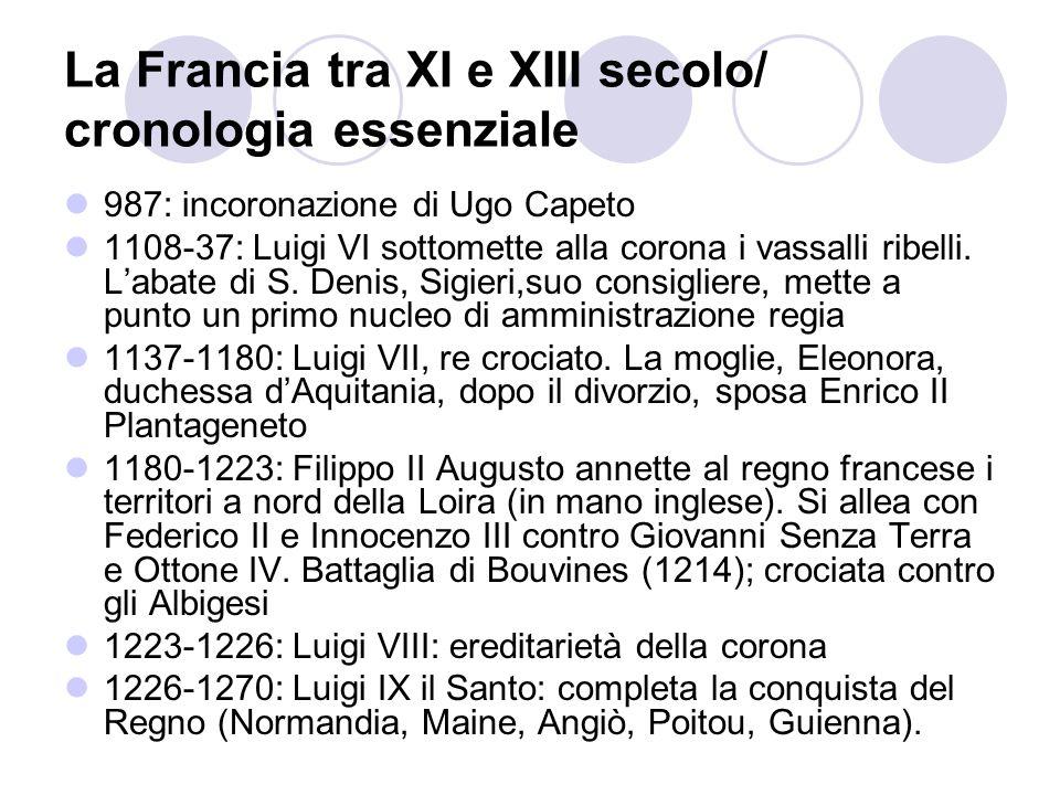 La Francia tra XI e XIII secolo/ cronologia essenziale 987: incoronazione di Ugo Capeto 1108-37: Luigi VI sottomette alla corona i vassalli ribelli. L