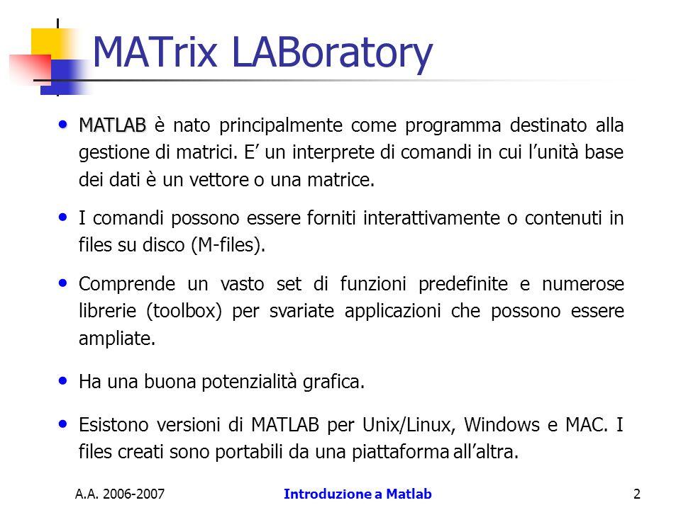 Introduzione a Matlab2 MATrix LABoratory MATLAB MATLAB è nato principalmente come programma destinato alla gestione di matrici. E un interprete di com