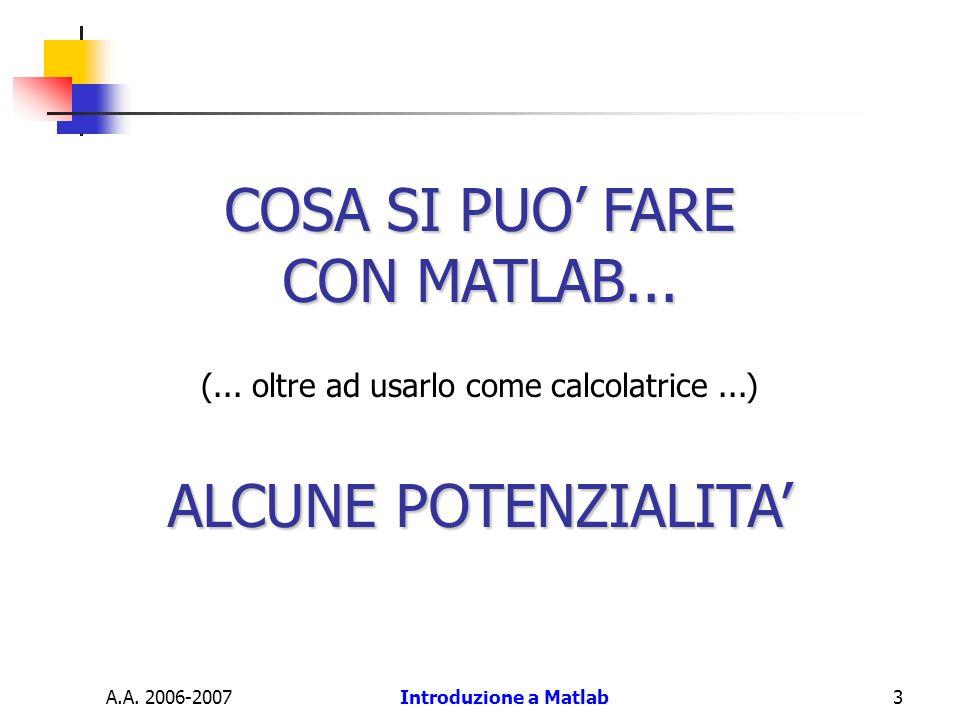 A.A. 2006-2007Introduzione a Matlab3 COSA SI PUO FARE CON MATLAB... (... oltre ad usarlo come calcolatrice...) ALCUNE POTENZIALITA