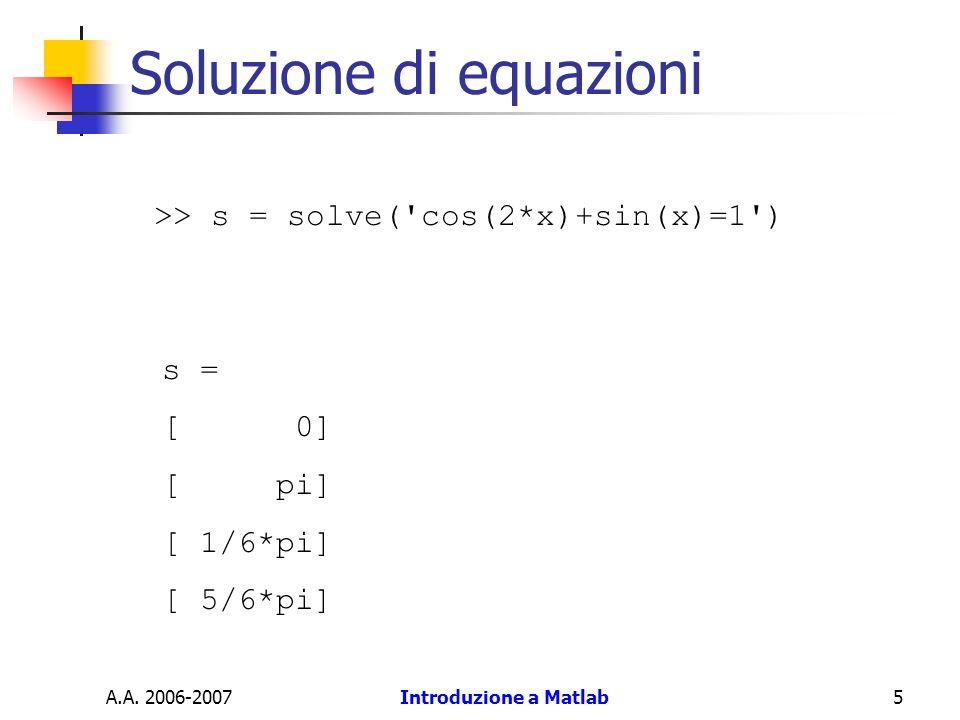 A.A. 2006-2007Introduzione a Matlab5 Soluzione di equazioni >> s = solve('cos(2*x)+sin(x)=1') s = [ 0] [ pi] [ 1/6*pi] [ 5/6*pi]