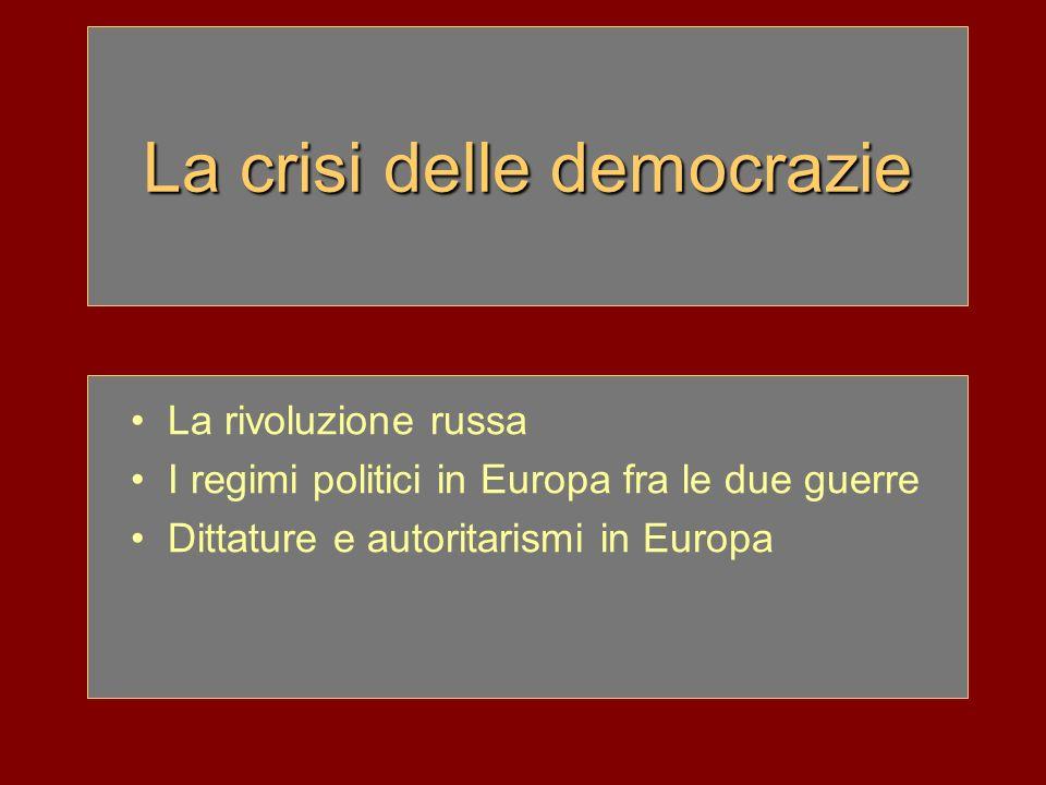 La crisi delle democrazie La rivoluzione russa I regimi politici in Europa fra le due guerre Dittature e autoritarismi in Europa