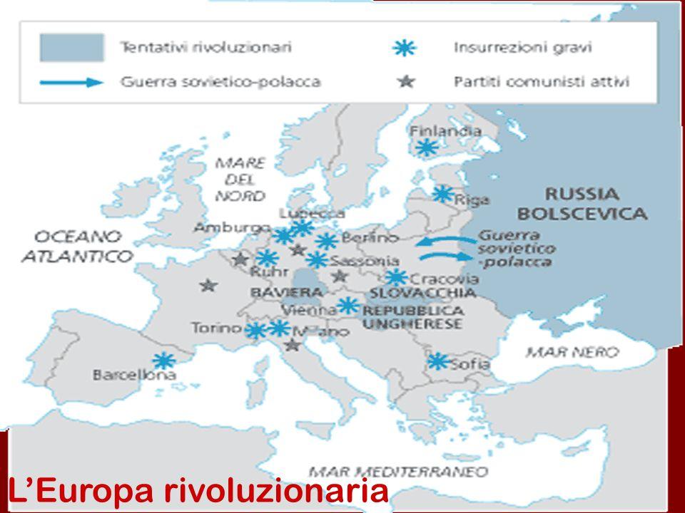 Il biennio rosso in Europa 1.Impennarsi spettacolare degli scioperi e delle sollevazioni, che assunsero caratteri rivoluzionari nelle nazioni più colpite dalla guerra 2.