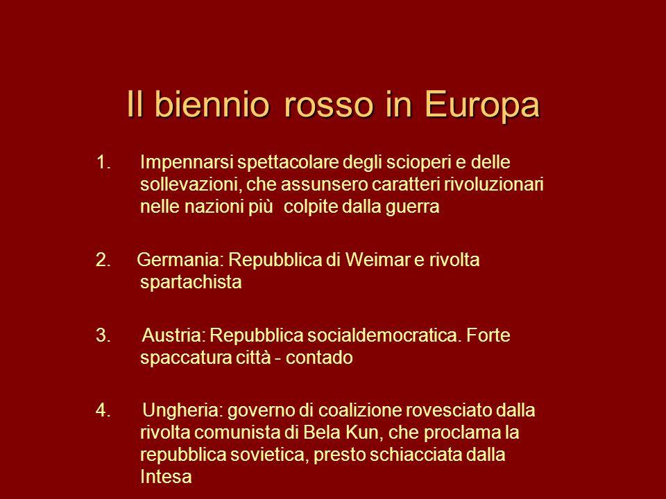 Il biennio rosso in Europa 1.Impennarsi spettacolare degli scioperi e delle sollevazioni, che assunsero caratteri rivoluzionari nelle nazioni più colp