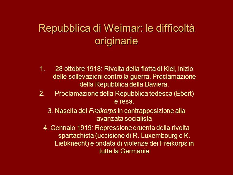 Repubblica di Weimar: le difficoltà originarie 1.28 ottobre 1918: Rivolta della flotta di Kiel, inizio delle sollevazioni contro la guerra. Proclamazi