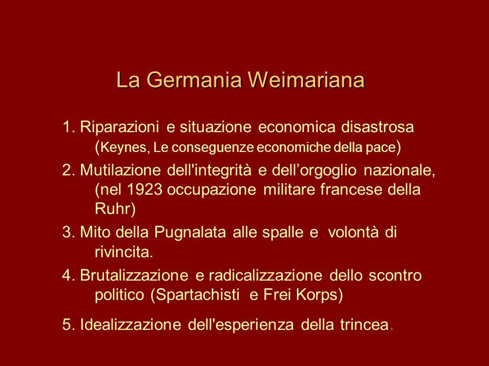 La Germania Weimariana 1. Riparazioni e situazione economica disastrosa ( Keynes, Le conseguenze economiche della pace ) 2. Mutilazione dell'integrità