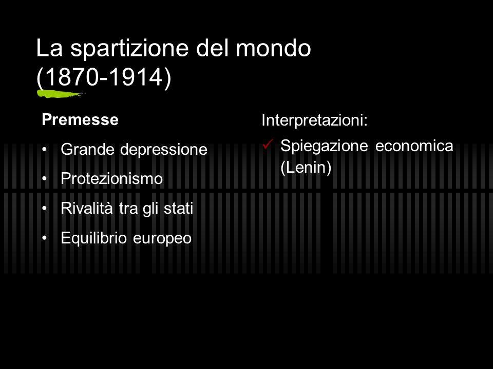 La spartizione del mondo (1870-1914) Premesse Grande depressione Protezionismo Rivalità tra gli stati Equilibrio europeo Interpretazioni: Spiegazione