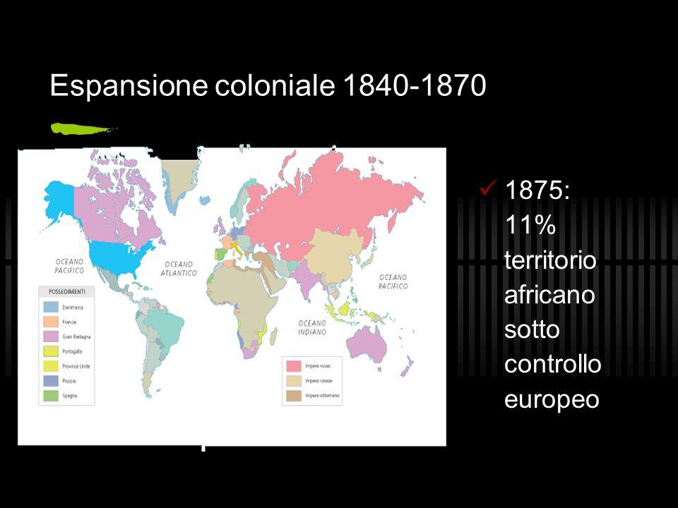 Espansione coloniale 1840-1870 1875: 11% territorio africano sotto controllo europeo