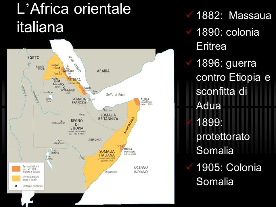 L Africa orientale italiana 1882: Massaua 1890: colonia Eritrea 1896: guerra contro Etiopia e sconfitta di Adua 1899: protettorato Somalia 1905: Colon