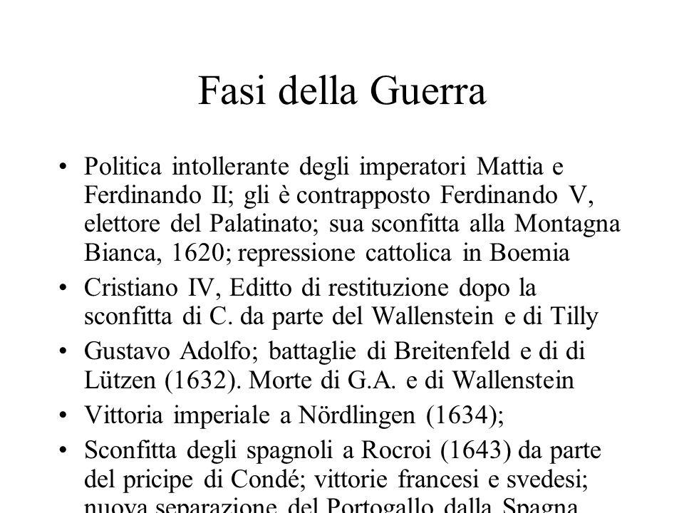 Fasi della Guerra Politica intollerante degli imperatori Mattia e Ferdinando II; gli è contrapposto Ferdinando V, elettore del Palatinato; sua sconfit