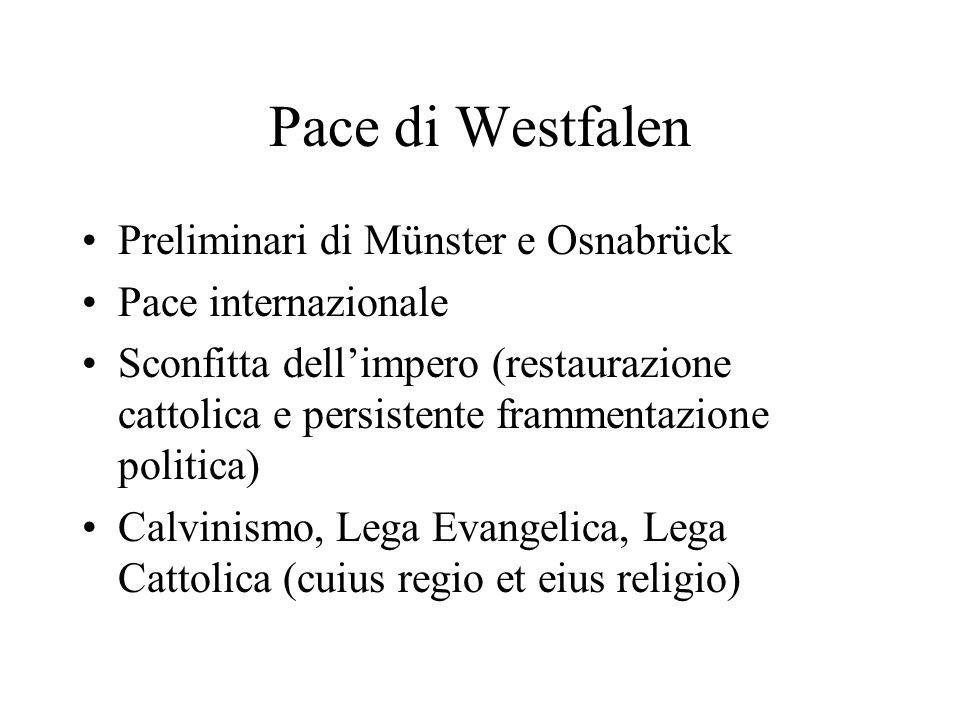 Pace di Westfalen Preliminari di Münster e Osnabrück Pace internazionale Sconfitta dellimpero (restaurazione cattolica e persistente frammentazione po
