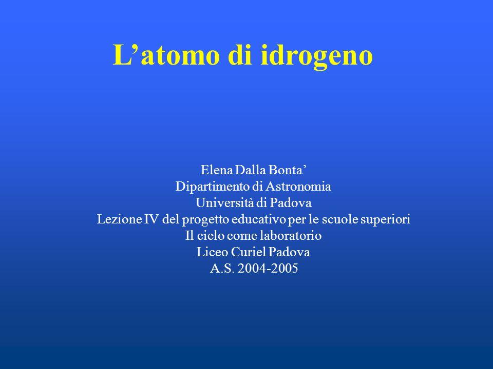Latomo di idrogeno Elena Dalla Bonta Dipartimento di Astronomia Università di Padova Lezione IV del progetto educativo per le scuole superiori Il ciel