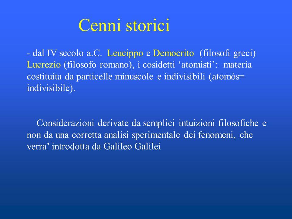 Cenni storici - dal IV secolo a.C. Leucippo e Democrito (filosofi greci) Lucrezio (filosofo romano), i cosidetti atomisti: materia costituita da parti