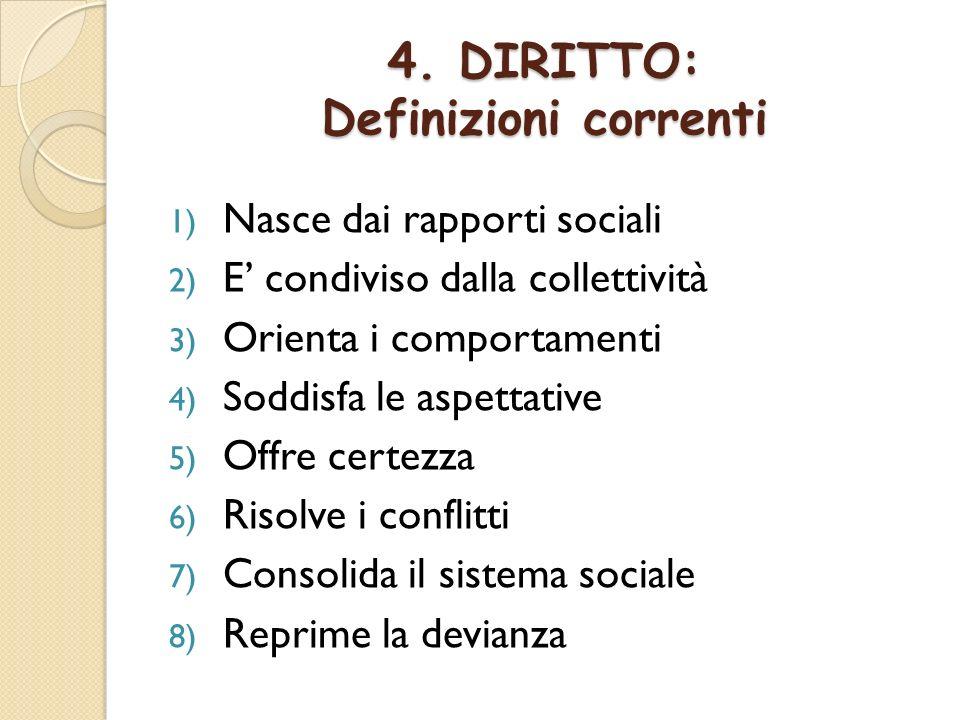4. DIRITTO: Definizioni correnti 1) Nasce dai rapporti sociali 2) E condiviso dalla collettività 3) Orienta i comportamenti 4) Soddisfa le aspettative