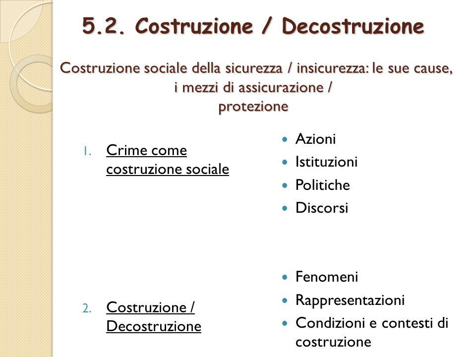 5.2. Costruzione / Decostruzione Costruzione sociale della sicurezza / insicurezza: le sue cause, i mezzi di assicurazione / protezione 1. Crime come
