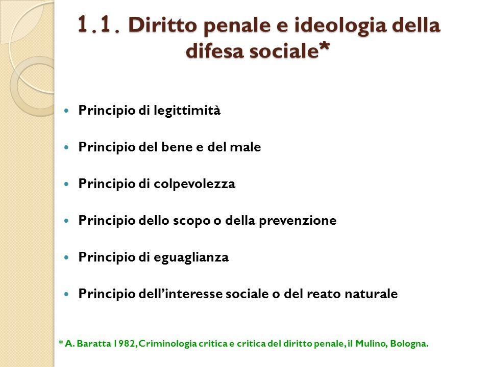 1.1. Diritto penale e ideologia della difesa sociale * Principio di legittimità Principio del bene e del male Principio di colpevolezza Principio dell