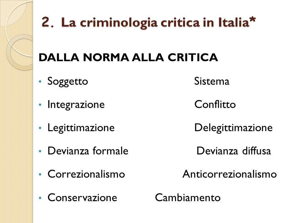 2. La criminologia critica in Italia * DALLA NORMA ALLA CRITICA Soggetto Sistema Integrazione Conflitto Legittimazione Delegittimazione Devianza forma