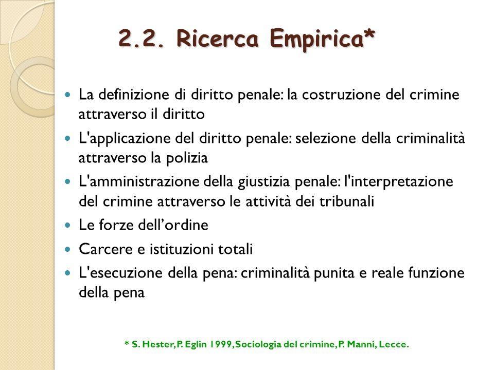 2.2. Ricerca Empirica* La definizione di diritto penale: la costruzione del crimine attraverso il diritto L'applicazione del diritto penale: selezione
