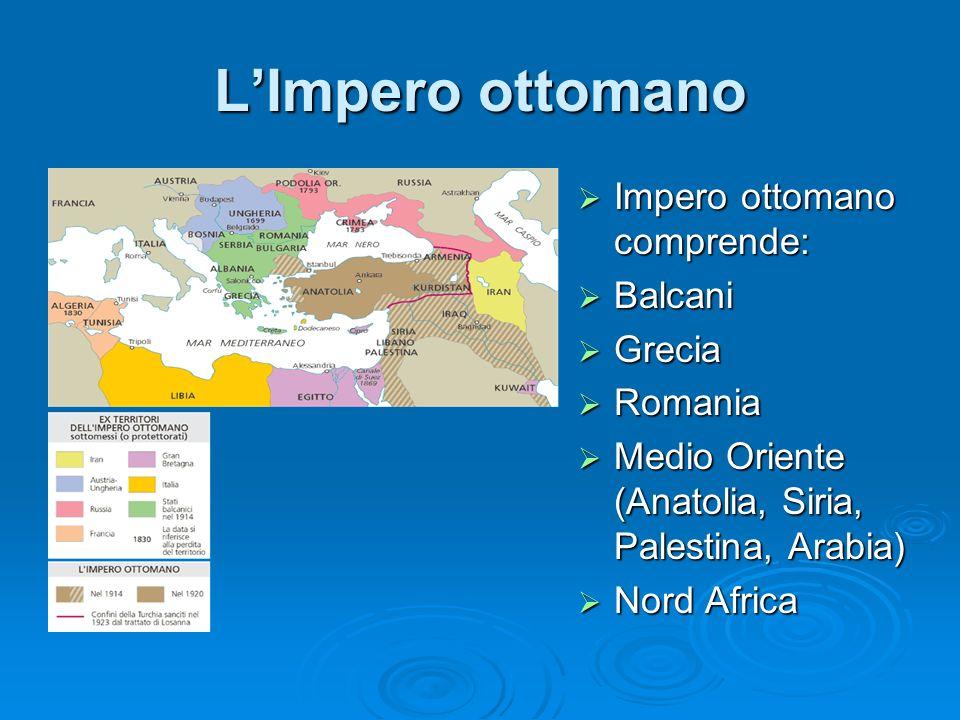 LImpero ottomano Impero ottomano comprende: Impero ottomano comprende: Balcani Balcani Grecia Grecia Romania Romania Medio Oriente (Anatolia, Siria, P