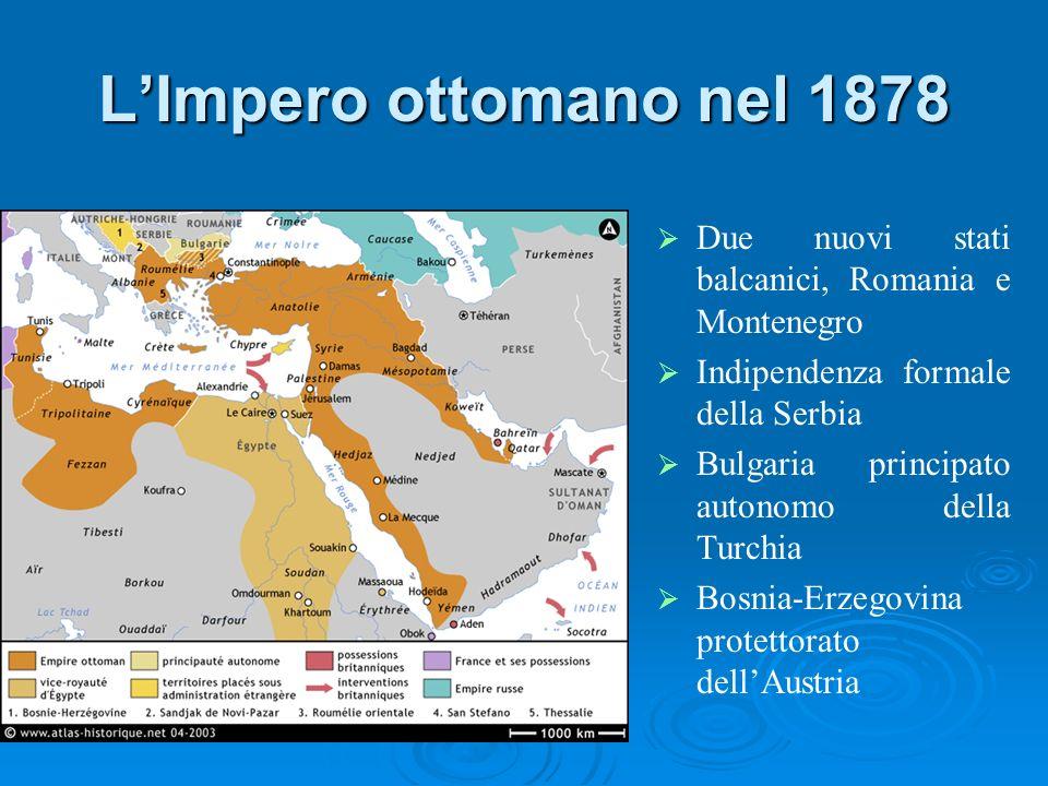 LImpero ottomano nel 1878 Due nuovi stati balcanici, Romania e Montenegro Indipendenza formale della Serbia Bulgaria principato autonomo della Turchia