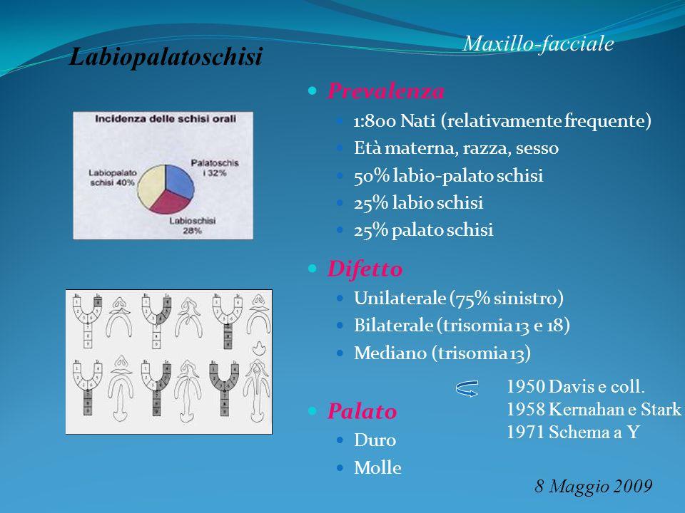 Maxillo-facciale 8 Maggio 2009 Labiopalatoschisi Prevalenza 1:800 Nati (relativamente frequente) Età materna, razza, sesso 50% labio-palato schisi 25%