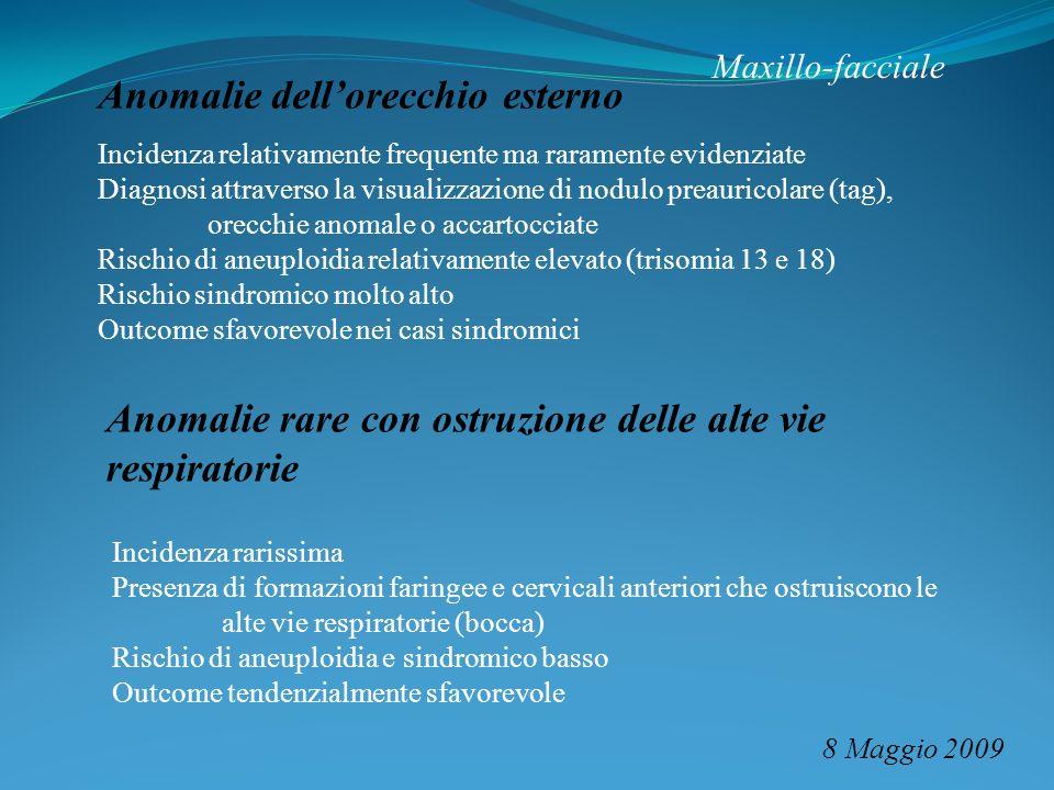 Maxillo-facciale 8 Maggio 2009 Anomalie dellorecchio esterno Incidenza relativamente frequente ma raramente evidenziate Diagnosi attraverso la visuali