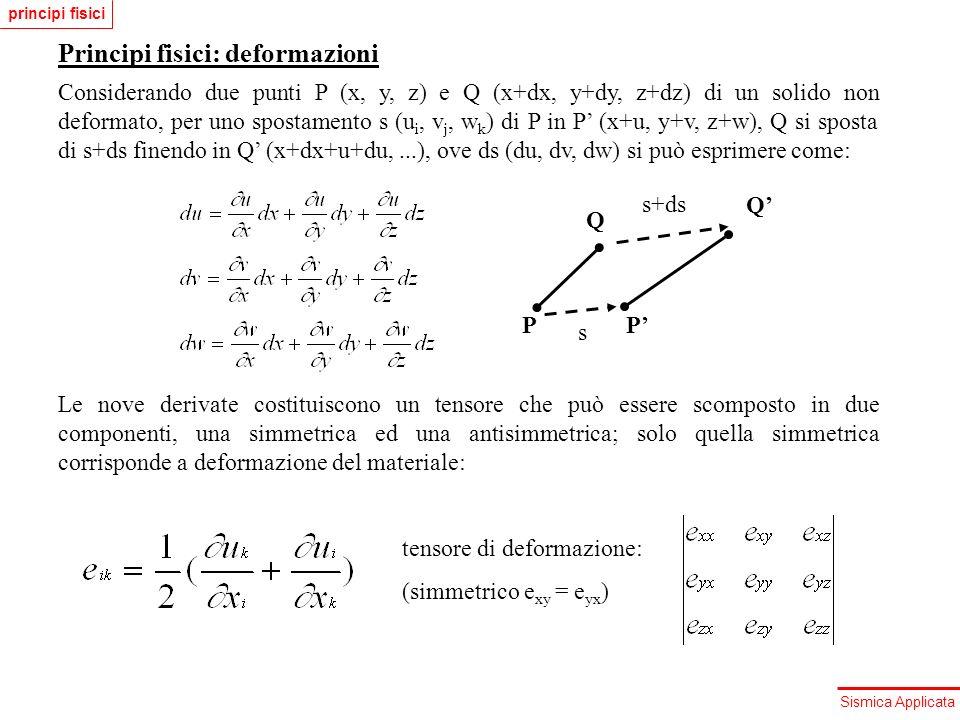 Sismica Applicata Principi fisici: deformazioni Le tre componenti sulla diagonale principale del tensore di deformazione corrispondono a deformazioni longitudinali, cui corrispondono anche variazioni di volume: u 1 x 1 Infatti la dilatazione cubica, ovvero la variazione relativa di volume, si esprime come: Le tre componenti fuori dalla diagonale corrispondono invece a deformazioni di taglio puro, cui corrisponde una variazione di volume nullo: x 1 u 1 principi fisici
