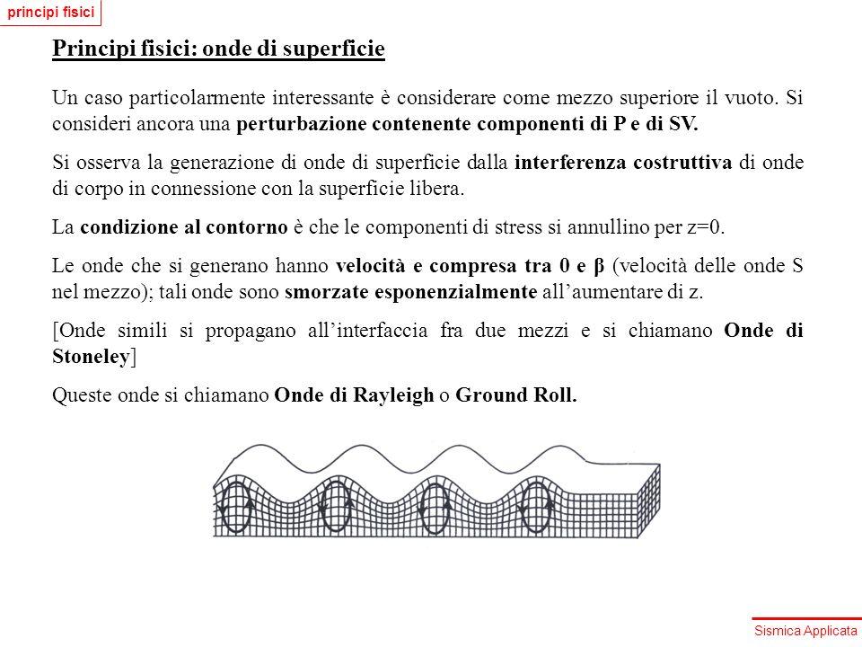 Sismica Applicata Principi fisici: onde di superficie Un caso particolarmente interessante è considerare come mezzo superiore il vuoto. Si consideri a