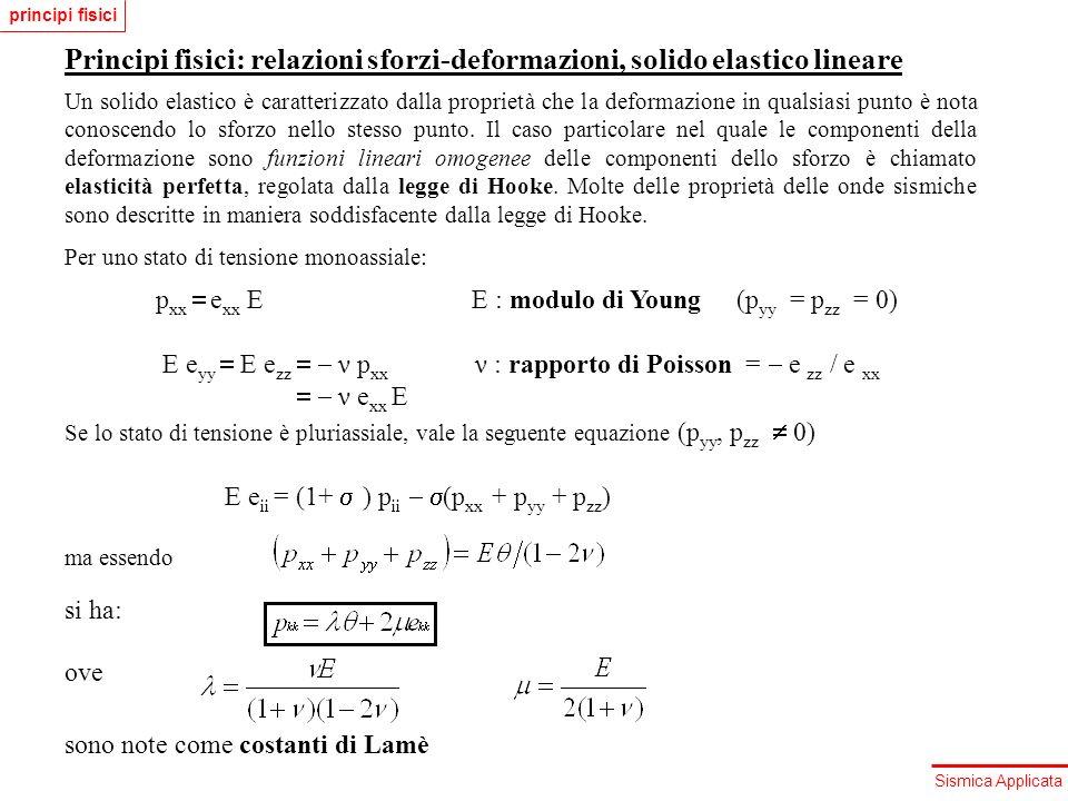 Sismica Applicata Principi fisici: relazioni sforzi-deformazioni, solido elastico lineare È quindi possibile scrivere la legge di Hooke, in un sistema di riferimento qualsiasi, in forma tensoriale, nel seguente modo: ove ik : delta di Kronecker, ik = 0 (i k); ik = 1 (i = k).