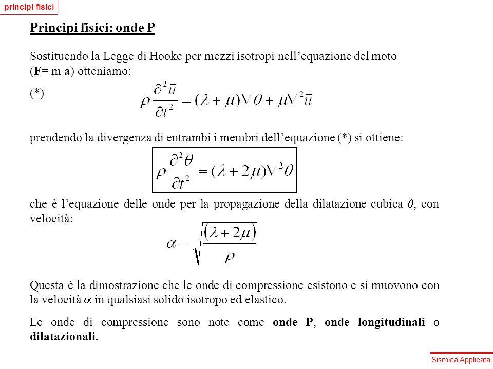 Sismica Applicata Principi fisici: onde P Sostituendo la Legge di Hooke per mezzi isotropi nellequazione del moto (F= m a) otteniamo: (*) prendendo la