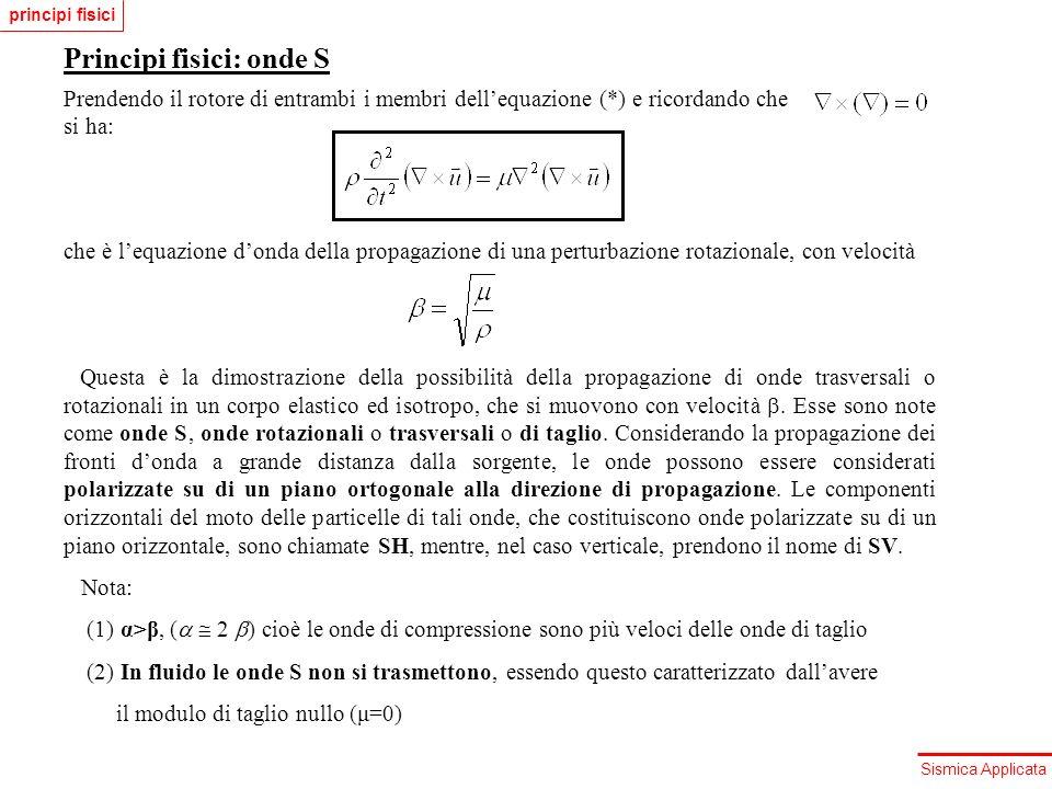 Sismica Applicata Principi fisici: onde S Prendendo il rotore di entrambi i membri dellequazione (*) e ricordando che si ha: che è lequazione donda de