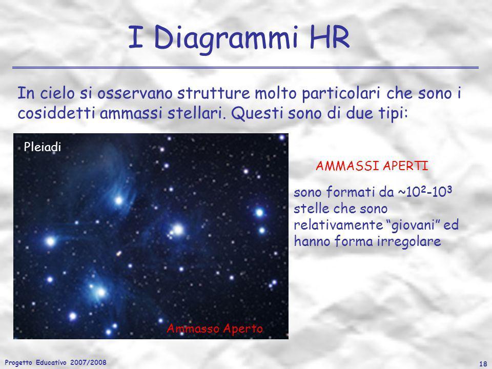 Progetto Educativo 2007/2008 18 I Diagrammi HR In cielo si osservano strutture molto particolari che sono i cosiddetti ammassi stellari. Questi sono d