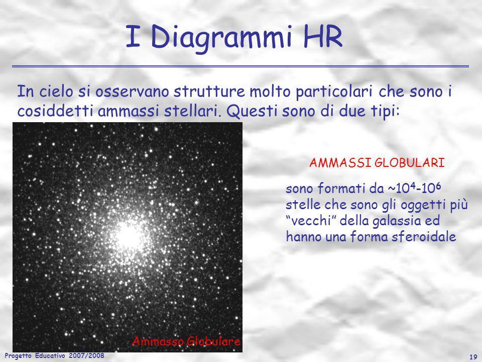 Progetto Educativo 2007/2008 19 I Diagrammi HR In cielo si osservano strutture molto particolari che sono i cosiddetti ammassi stellari. Questi sono d